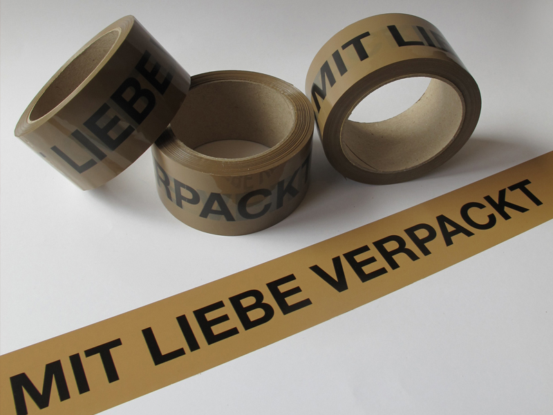 "The sticky paper tape ""Mit Liebe verpackt"""