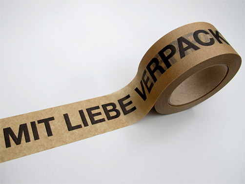 Sticky paper tape  Packed with love - glue: rubber