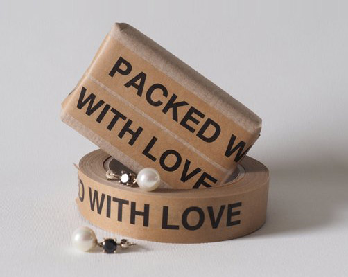 Narrow paper tape PACKED WITH LOVE
